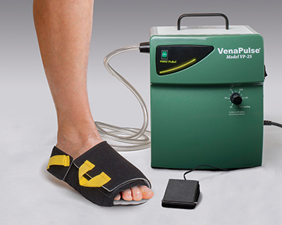 VenaPulse Device with patented rapid inflator foot cuff